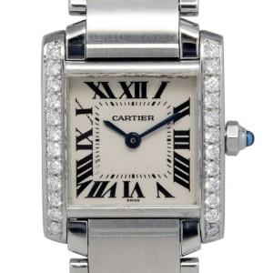 Cartier Tank Francaise W51008Q3 2300 Diamond Bezel Stainless Quartz Womens Watch