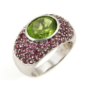 LeVian 18K White Gold Sapphire & Peridot Dome Ring