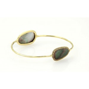 Ippolita Pebble 18K Yellow Gold Pave Diamonds & Mother of Pearl Bangle