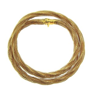 Van Cleef & Arpels 18K Yellow Gold Chocker Necklace Twisted Robe Chain