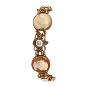 14K Yellow Gold With Hand Carved Cameo Bracelet