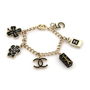 Chanel Gold Tone and Black Enamel 6 Iconic Charms Chain Bracelet