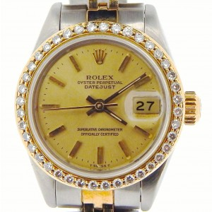 Rolex Datejust 69173 18K Yellow Gold & Stainless Steel Diamond Bezel Womens Watch