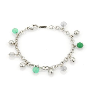 Tiffany & Co. 925 Sterling Silver & Multi-Gems Bead Charm Chain Bracelet