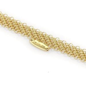Tiffany & Co. Peretti 18k Yellow Gold Round Black Jade Pendant Mesh Necklace