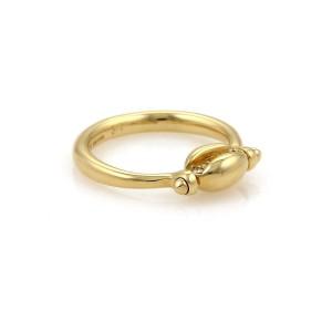 Bulgari 18K Yellow Gold Diamond Swivel Coffee Bean Ring Size 6.75