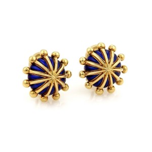 Tiffany & Co. Schlumberger Blue Enamel & 18K Yellow Gold Clip On Dome Earrings