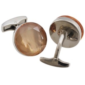 Tateossian Sterling Silver Brown Cubic Zirconia Round Sushi Cufflinks
