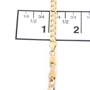 14K Yellow Gold Cuban Curb Link Chain Necklace
