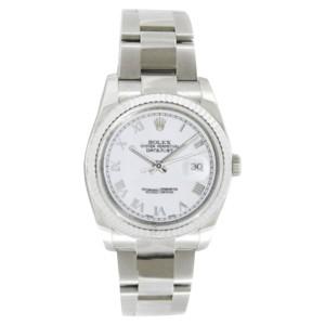 Rolex Datejust Oyster Steel 116234 WRO White Roman Dial Gold Bezel Mens 36mm Watch