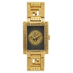Versace Gianni Medusa Gold Plated & Leather 20mm Womens Watch
