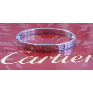 Cartier 18k Love White Gold Bracelet Bangle