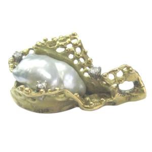 18K Yellow Gold Baroque Pearl & Diamond Pendant