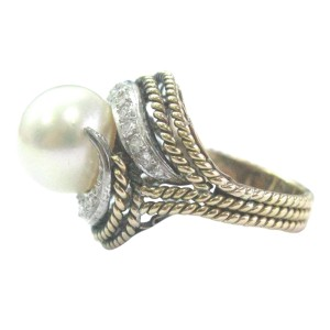 Yellow Gold Pearl & Diamond Jewelry Ring