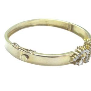 Fine Round Cut Diamond 43-Stone Yellow Gold Bangle Bracelet