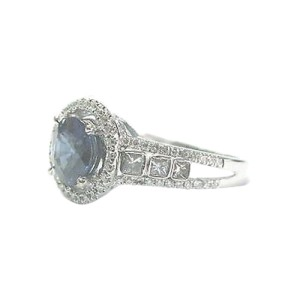 18K White Gold Sapphire Diamond Multi Shape Ring