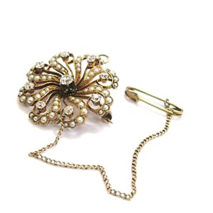 14K Yellow Gold Diamond & Seed Pearls Pin/Brooch