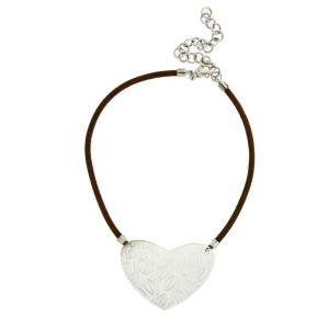 Enigma by Bulgari Sterling Silver Brown Leather Necklace