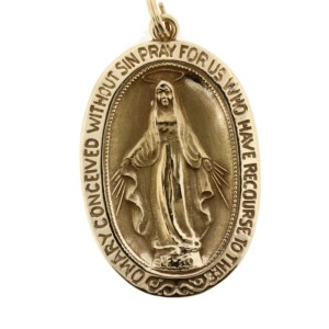Mother Mary 14K Yellow Gold Pendant