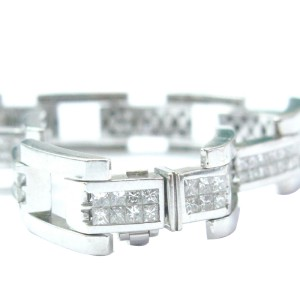 18K White Gold Invisible Diamond Mens Bracelet