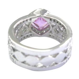 18K White Gold Pink Sapphire & Diamond Ring