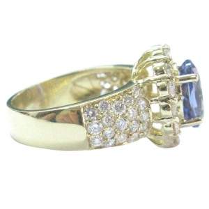 18K Yellow Gold Tanzanite & Diamond Ring