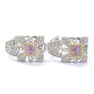 18K White Gold Diamond & Pink Sapphire Milgrain Huggie Earrings