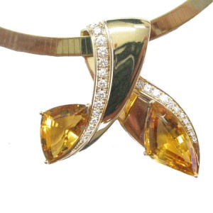 14K Yellow Gold Citrine & Diamond Bypass Necklace