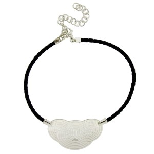 Enigma by Bulgari Sterling Silver Black Leather Necklace