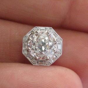 Platinum Old European & Baguette Diamond Octagona Halo Pendant Necklace
