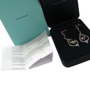 Tiffany & Co. Platinum Morganite Pink Tourmaline Diamond Drop Earrings