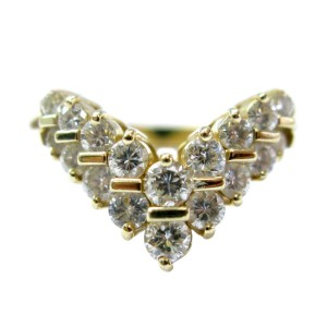 Yellow Gold 2-Row Round Cut Diamond Wrap Ring