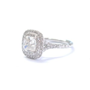 Tiffany & Co. Platinum Cushion Cut Diamond Soleste Engagement Ring
