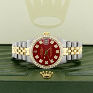 Rolex Datejust Two Tone With Imperial Red Dial & Diamond Bezel 31mm Womens Watch