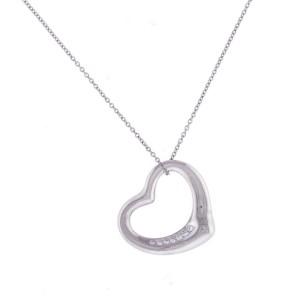 Tiffany & Co. 950 Platinum Elsa Peretti 0.30ct Diamond Heart Pendant Necklace