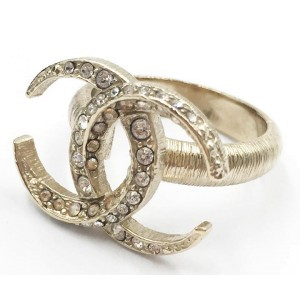 Chanel Gold Tone CC Moon Ring Size 6
