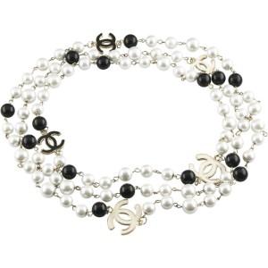 Chanel Gold-Tone Metal Pearl & Onyx Enamel Logo Long Chain Necklace