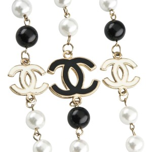 Chanel Gold-Plated Pearl & Onyx Enamel Logo Long Chain Necklace