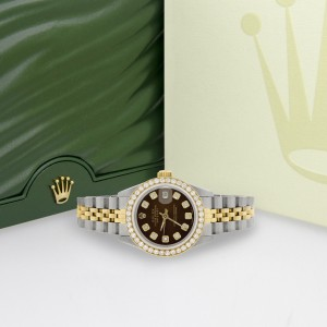 Rolex Datejust Two-Tone 18K Yellow Gold Stainless Steel With Cocoa Brown Dial 26mm Womens Watch