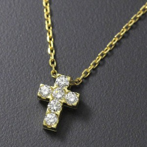 Van Cleef & Arpels 750 Yellow Gold and Daimond Cross Necklace