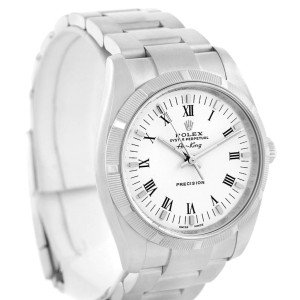 Rolex Oyster Perpetual 114210 Air King White Roman Dial Mens 34mm Watch
