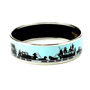 Hermes Silver Tone Metal Horse Blue Enamel Bracelet