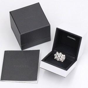 Chanel 18K White Gold Pearl Diamond Ring Size 7.5