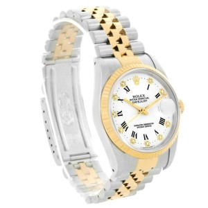 Rolex Datejust 16233 Stainless Steel & 18K Yellow Gold White Diamond Dial 36mm Mens Watch