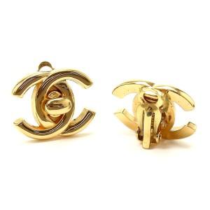 Chanel Gold Tone Metal Coco-Mark Earrings