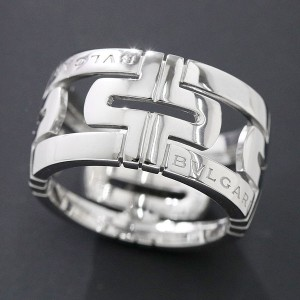 Bulgari 18K White Gold Parentesi Ring Size 7.0