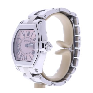 Cartier Roadster 2675 Stainless Steel Pink Sunray Dial 30mm Womens Watch
