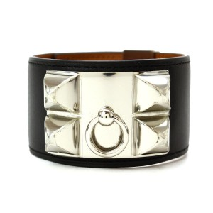 Hermes Collier de Chien Silver Tone Metal Swift Leather Bracelet