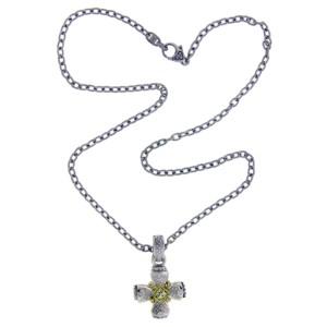 Judith Ripka Sterling Silver Diamond Cross Necklace
