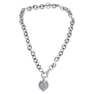 Judith Ripka Sterling Silver Heart Necklace